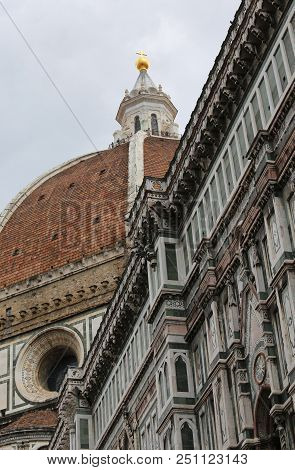Cathedral Of Florence In Italy And The Huge Dome Designed By Italian Architect Brunelleschi With Big