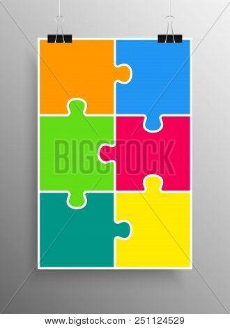 Poster Banner. Six Pieces Puzzle Infographic Presentation. 6 Steps Business Diagram. Puzzle Section