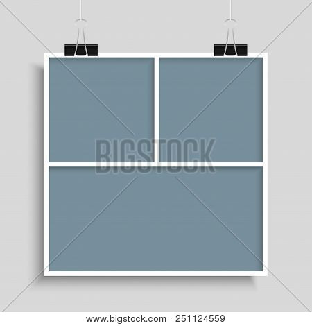 Templates Collage Three Frames For Photo Or Illustration. Vector Frame For Photos, Pictures, Photo C