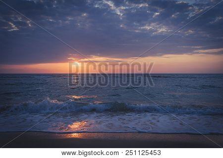 Beach And Tropical Sea- India. Purple Beach Sunset. Waves At Dawn. Andaman And Nicobar Islands, Indi