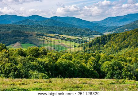 Beautiful Mountainous Countryside. Calm And Relaxing Scene. Forested Hill And Rural Fields In The Di