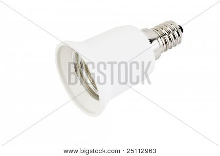 White fixture light isolated on white background; lamp holders with metal parts