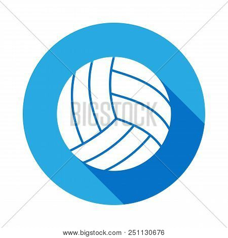 Volleyball Icon With Long Shadow. Element Of Sport Icon For Mobile Concept And Web Apps. Isolated Vo