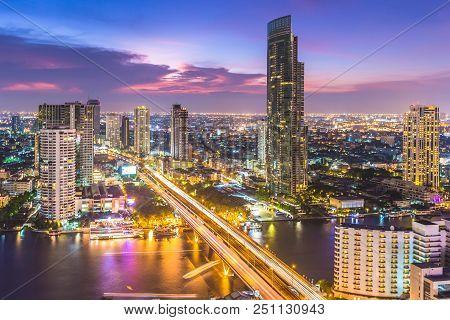 Aerial View Of Bangkok City Modern Office Buildings, Condominium, Hotel In Bangkok City Downtown Bus