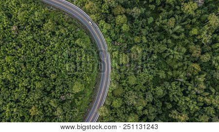Aerial View Of Forest Road At South East Asia, Aerial View Of A Provincial Road Passing Through A Fo