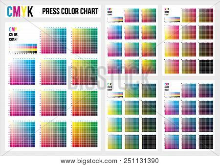 Cmyk Press Color Chart. Vector Color Palette, Cmyk Process Printing Match. Color Management, Quality
