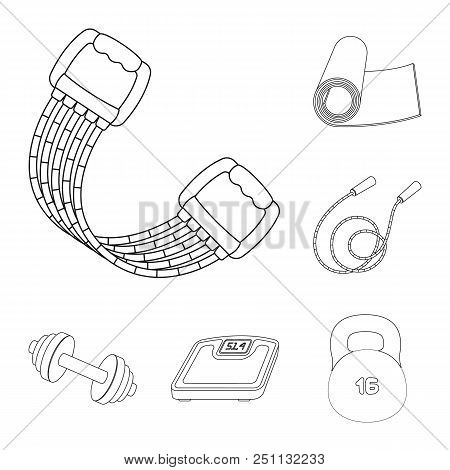 Gym And Training Outline Icons In Set Collection For Design. Gym And Equipment Vector Symbol Stock