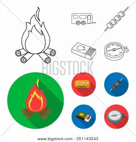 Trailer, Shish Kebab, Matches, Compass. Camping Set Collection Icons In Outline, Flat Style Vector S