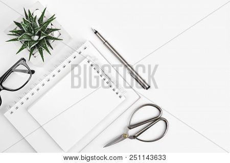 Composition Of Office Supplies On White Background With Copy Space