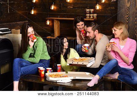 Students, Friends, Group Mates With Teacher Celebrate, Have Fun, Dark Wooden Interior Background. Yo