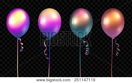 Vector Realistic Baloons Mockup. 3d Vector Illustration