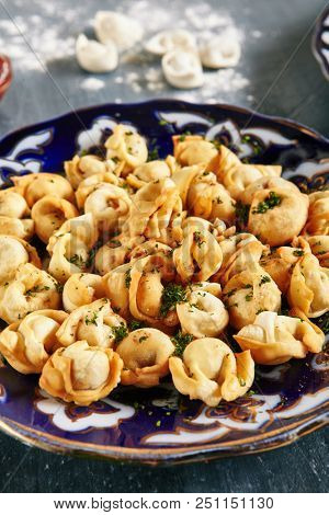 Oriental Fried Dumplings with Minced Meat also known as Gyoza, Dim Sum, Jiaozi, Momo, Tortellini, Pierogi, Varenyky, Mandu or Ravioli Close Up. Hot Crunchy Deep-Fried Beef and Mutton Pelmeni