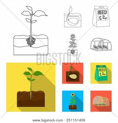 Company, Ecology, And Other  Icon In Outline, Flat Style. Husks, Fines, Garden Icons In Set Collecti