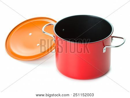 Red Saucepan With Lid On White Background