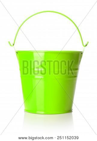 Close-up View Of Light Green Bucket On White Background