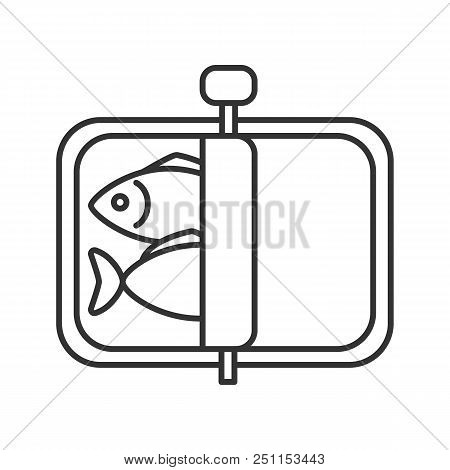 Sprats Linear Icon. Thin Line Illustration. Canned Fish. Contour Symbol. Vector Isolated Outline Dra
