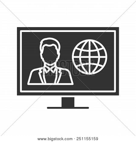 Tv News Glyph Icon. Newscaster On Television Set Display. Silhouette Symbol. Negative Space. Vector