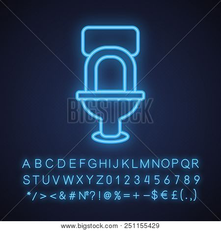 Toilet Pan Neon Light Icon. Lavatory Loo. Glowing Sign With Alphabet, Numbers And Symbols. Vector Is