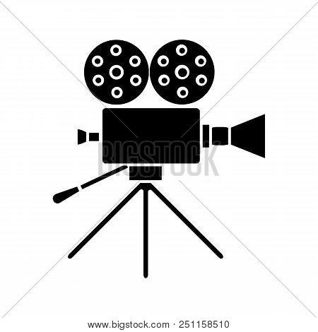 Movie Camera Glyph Icon. Cine Camera. Silhouette Symbol. Negative Space. Vector Isolated Illustratio