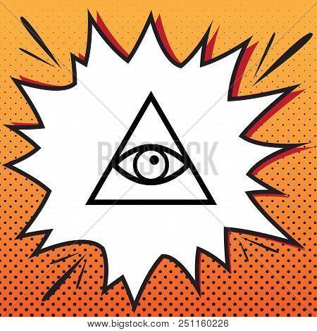 All Seeing Eye Pyramid Symbol. Freemason And Spiritual. Vector. Comics Style Icon On Pop-art Backgro