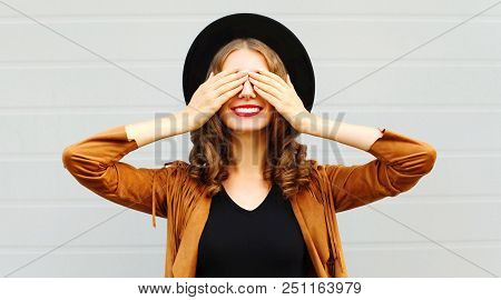 Cool Girl Closes Eyes Cute Smiling Wearing A Vintage Elegant Hat Brown Jacket Playing Having Fun Ove
