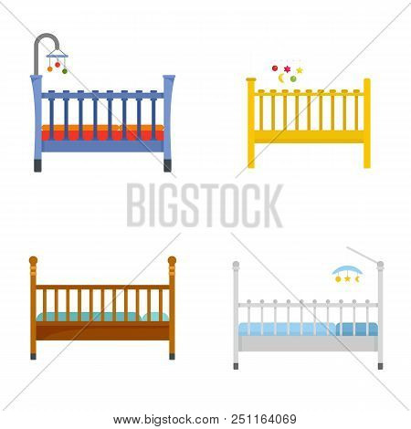 Baby Crib Cradle Bed Icons Set. Flat Illustration Of 4 Baby Crib Cradle Bed Vector Icons Isolated On