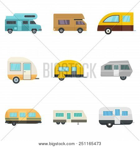 Motorhome car trailer camp house icons set. Flat illustration of 9 motorhome car trailer camp house vector icons isolated on white poster