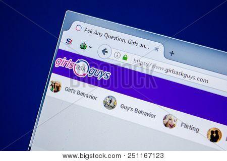 Ryazan, Russia - July 24, 2018: Homepage Of Girlsaskguys Website On The Display Of Pc. Url - Girlsas