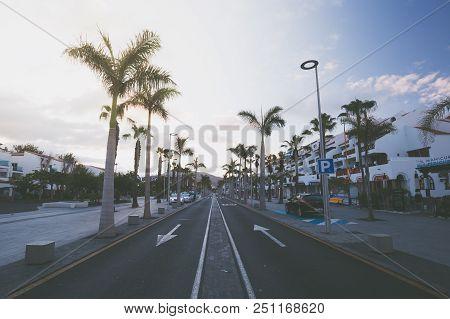 Spain, Canary Islands, Tenerife, Las Americas - May 23, 2018: Avenue Las Americas In Playa De La Ame