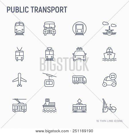 Public Transport Thin Line Icons Set: Train, Bus, Taxi, Ship, Ferry, Trolleybus, Tram, Car Sharing.
