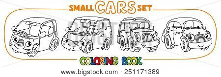 Passenger Mini Cars, Retro Taxi Car And Offroader. Small Funny Vector Cute Passenger Vehicles Set Wi