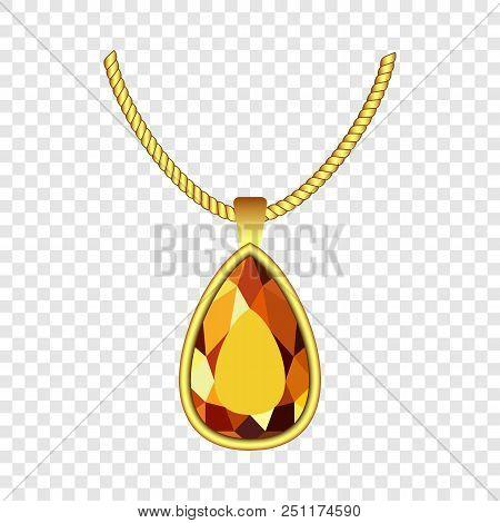 Yellow Topaz Jewelry Icon. Realistic Illustration Of Yellow Topaz Jewelry Vector Icon For On Transpa