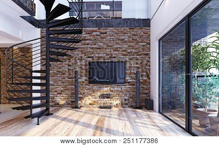 Luxury modern loft apartment interior. 3d rendering concept