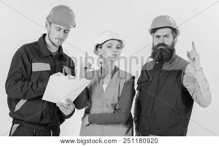Builder And Engineer Found Out How To Solve Problem. Team Of Architects, Engineers Discuss, Looks At