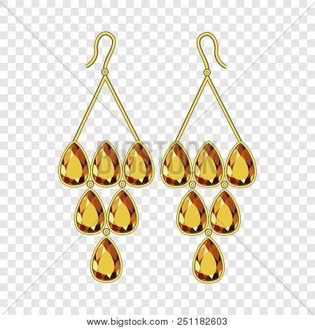 Topaz Earrings Mockup. Realistic Illustration Of Topaz Earrings Vector Mockup For On Transparent Bac
