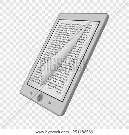 Ink Reader Tablet Mockup. Realistic Illustration Of Ink Reader Tablet Vector Mockup For On Transpare