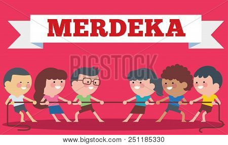 Indonesia Traditional Special Games During Hari Merdeka, Independence Day Of Indonesia, Children Tug