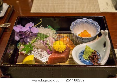 Fresh Sashimi Plate Served On Top Of Bamboo Plates. Served In A Ryokan Located In Yufuin, Japan