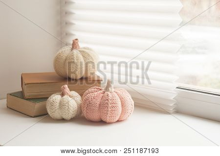 Cosy And Soft Winter, Autumn, Fall Background, Knitted Decor And Books On An Windowsill. Christmas,
