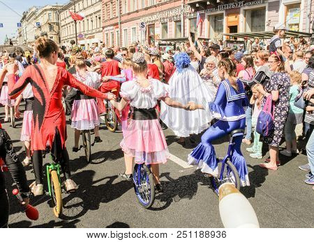 St. Petersburg, Russia - 26 May, Parade Of Young Artists Of The Circus, 26 May, 2018. Parade Of Elep