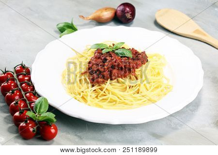 Plate Of Delicious Spaghetti Bolognaise Or Bolognese With Savory Minced Beef
