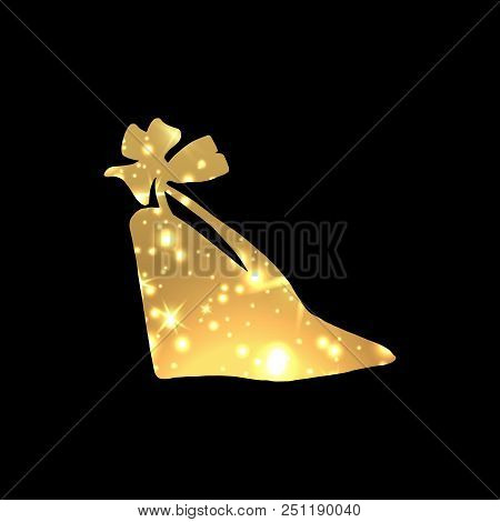 Golden Shining Woman Night Shoes With High Heels With Star Blinks. Glowing Female Footwear, Trendy G
