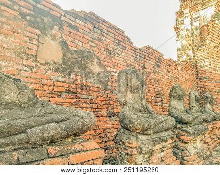Buddha Statue No Head Wat Chaiwatthanaram Temple In Ayuthaya Historical Park, A Unesco World Heritag