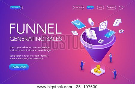 Funnel Generation Sales Vector Illustration For Digital Marketing And E-business Technology. Busines