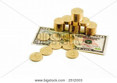 Fifty And Gold Coins White Background