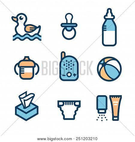 Baby Accessories. Set Of Icons: Non-spill Cup With Handles, Feeding Bottle, Ball, Rubber Duck For Ba