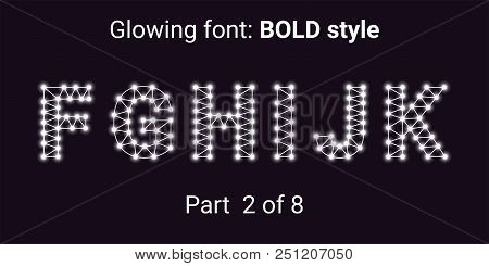 White Glowing Font In The Outline Style. Vector Alphabet With Connections, Lines, Polygonal Structur