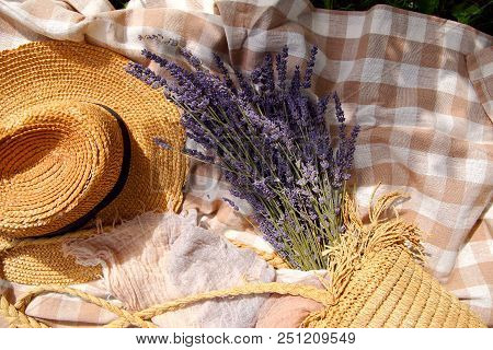 Bouquet Of Lavender In A Bag With A Straw Hat
