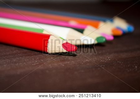 Color Pencils. Background. Many Different Colored Pencils. Colored Drawing Pencils In A Variety Of C