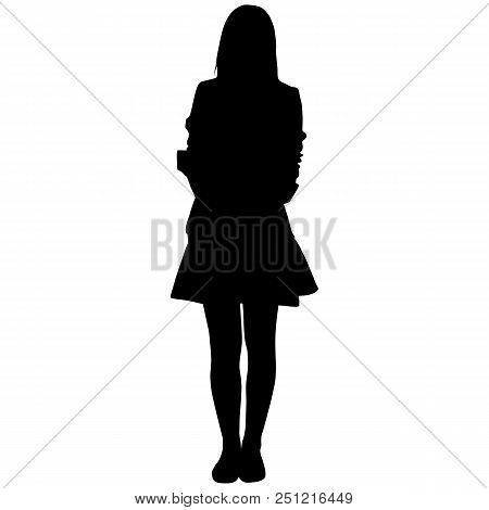 Silhoutte Of Standing Woman In Short Dress On White Background